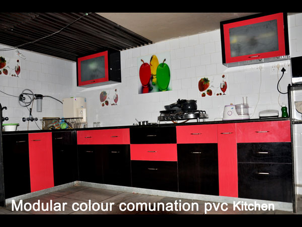 Modular Color Combination PVC Kitchen Part 40